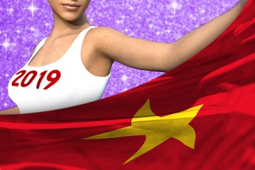 cute girl holds Vietnam flag in front on the purple shining sparks background - Christmas and 2019 New Year flag concept 3d illustration
