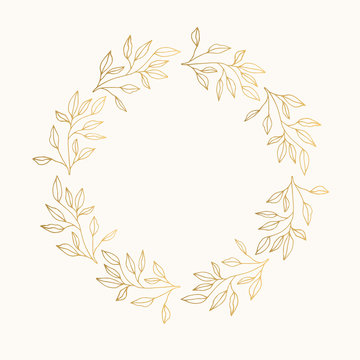 Gold foil laurel with leaves and branches