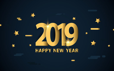 Happy new year 2019. Luxury gold with stars and sparkles background