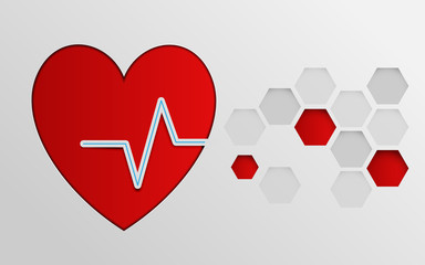 Heart with cardiogram with abstract hexagons background