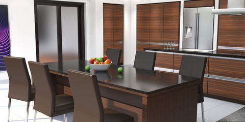 3D rendering modern kitchen