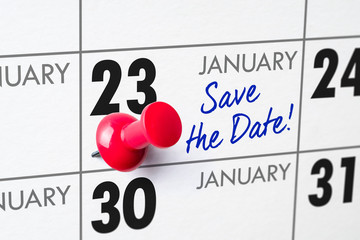 Wall calendar with a red pin - January 23
