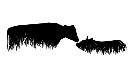 Vector silhouette of cow and pig in the grass on white background.