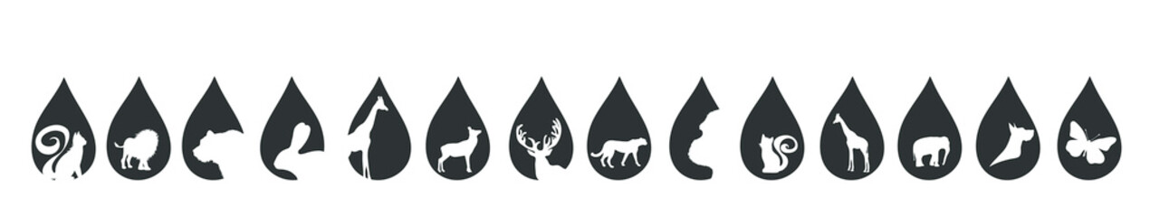 Vector silhouette of set of the animal in the drop on white background.