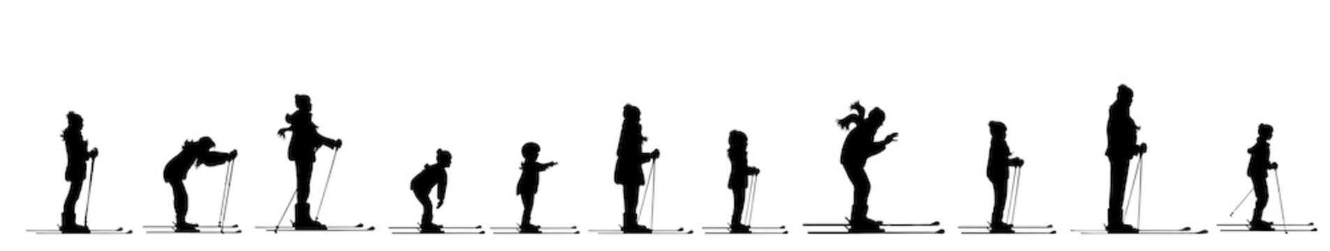 Vector silhouette of people who skiing.