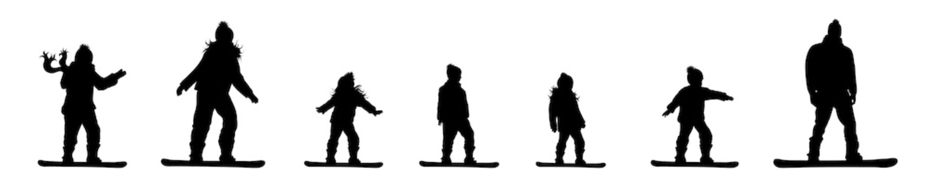 Vector silhouette of set of people who rides on a snowboard.