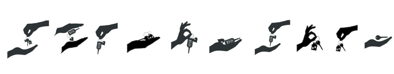 Vector silhouette set of hands with key.
