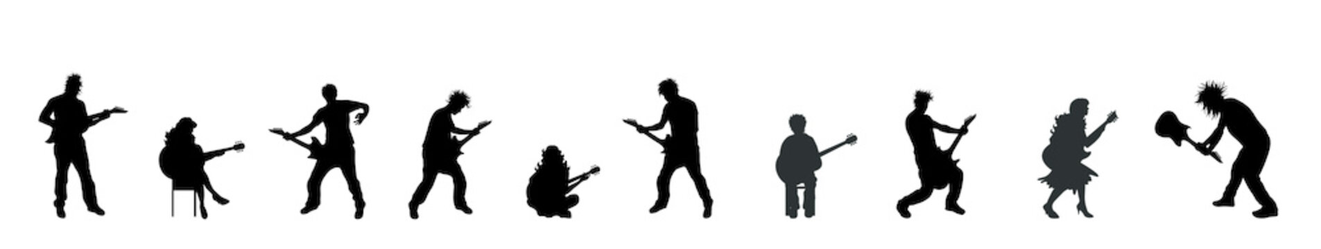 Vector silhouette set of people with guitar.