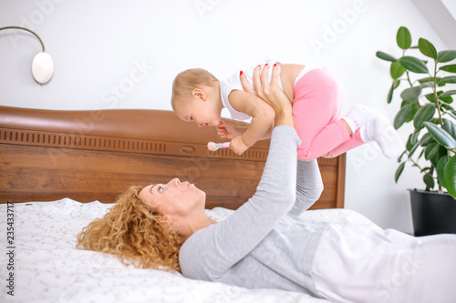 best time with a child  mother looking after the baby  love, feeling