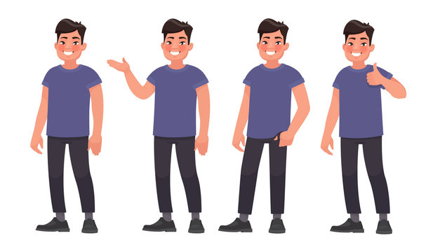 Set of character a handsome Asian man in casual wear in different poses. Vector illustration