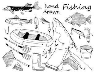 Hand drawn fishing elements. Graphic vector set. All elements are isolated