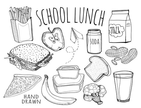Hand drawn school lunch elements. Graphic vector set. All elements are isolated