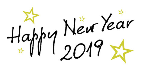 2019 hand written lettering with golden Christmas stars on a black background. Happy New Year card design. Vector illustration EPS