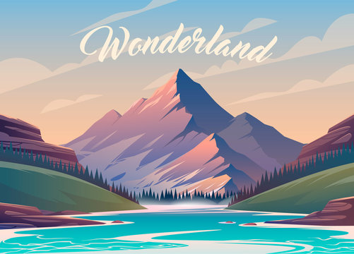 Vector illustration. Exciting view. A great mountain is surrounded river. 2