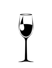 abstract a big black wineglass. isolated. vector
