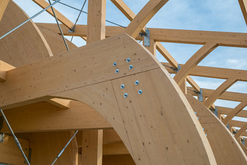 Detail of a modern wooden architecture in glued laminated timber Wall mural