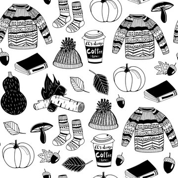 Hello autumn. Hand drawn doodle graphic vector seamless pattern