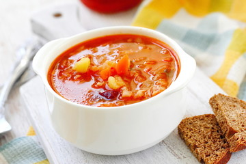 Traditional Russian Ukrainian vegetable borscht soup