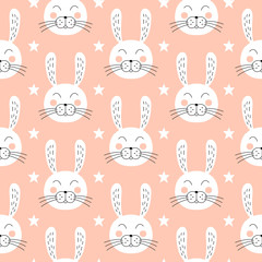 Cute bunny seamless pattern. Rabbit repeat background. Baby vector illustration.