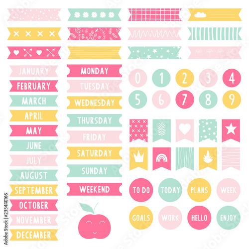 graphic regarding Printable Stickers Labels titled Fixed of stickers for planner. Weekly toward do listing. Sbook