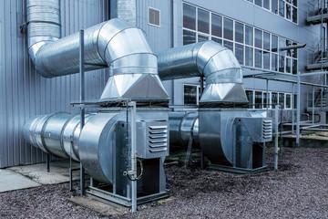Fototapeta Side view of the modern high capacity industrial ventilation fans obraz
