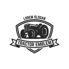 tractor emblem. Farmers market. Design element for logo, label, sign.