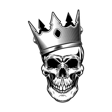 Skull in king crown. Design elements for logo, label, emblem, sign, menu.