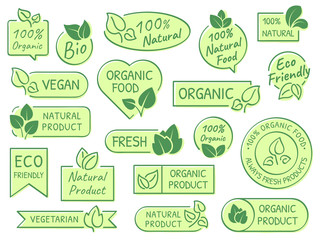Green leaves labels. Eco, healthy and natural products. Certified quality fresh organic vegetarian food vector label concept