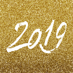 Gold glitter Happy New Year 2019 text design, vector illustration