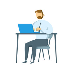 Bearded businessman sitting at his workplace. Manager working on a laptop in his office. Flat vector illustration. Isolated on white background.