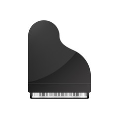Black piano with highlight. Vector illustration in flat design.