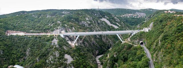 """Large panoramic view on bridge """"Rjecina"""", """"Katarina"""" viaduct and """"Katarina"""" road tunnel"""