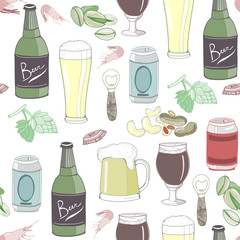 Various beer and appetizers. Colored graphic vector seamless pattern