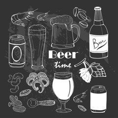 It's beer time! Graphic vector set. Chalkboard style. All elements are isolated