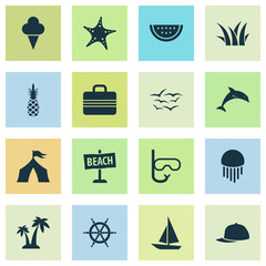 Sun icons set with baseball cap, pineapple, ship helm and other trees  elements. Isolated vector illustration sun icons.