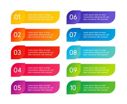 Colorful menu steps, app interface. Number options. Web design of buttons elements. Vector infographics illustration.
