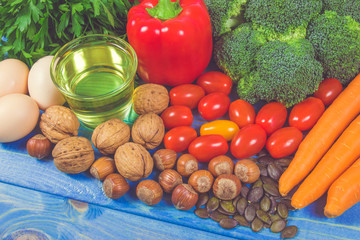 Healthy food, dieting concept. Assortment of high vitamin E sources.
