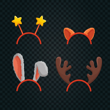 Christmas Hats With Stars, Reindeer Antlers, Cat and Rabbit ears. Xmas Photo Booth Props for Kids on Transparent Background. Cute Masks in Mobile App for a Party. Cartoon Style Vector Illustration