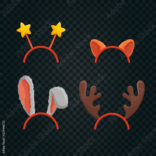 Christmas Hats With Stars Reindeer Antlers Cat And Rabbit Ears