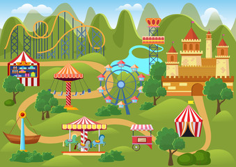 Amusement park concept landscape map with flat fairground elements, castle, mountains cartoon vector illustration.
