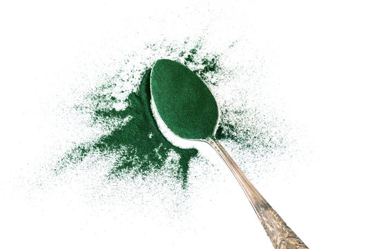 Close up group of spirulina powder , a superfood and detox healthy nutrition