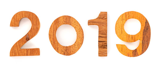 a wooden number of 2019 isolated on white background