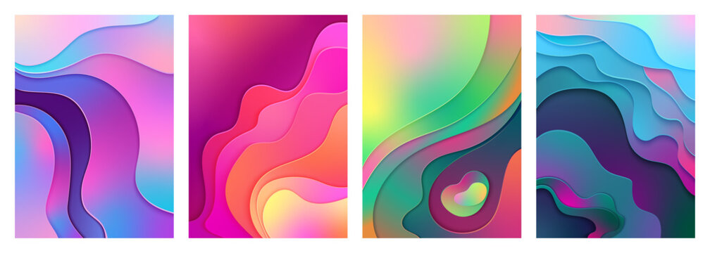 Metallic modern gradient active mixed gradient color paper cut art. Curved, layered wave shapes background vector illustration for business presentations, inviting cards, flyers, posters.