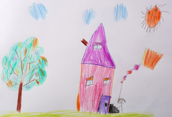 Children's drawing. Childrens Picture - Me and My Home. What can a children's picture tell. Psychological testing of the child using the picture.
