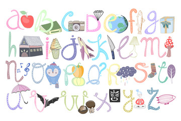 Hand drawn doodle alphabet. Graphic colored vector letters with cute illustrations. Every letter is isolated