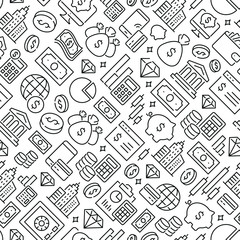 Inclined seamless pattern with money and finance. Black and white thin line icons