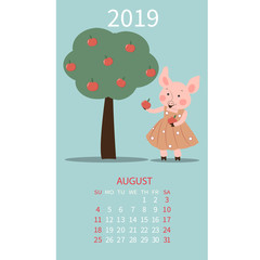 Monthly calendar 2019 with funny pig symbol Chinese new year. Month of August.