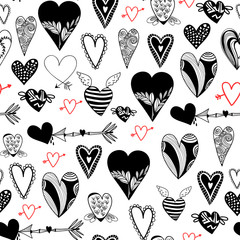 Various red and black doodle hearts. Graphic vector seamless pattern