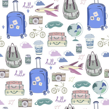 Hand drawn travel stuff. Colored graphic vector seamless pattern