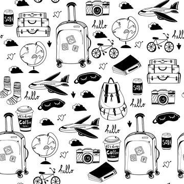 Hand drawn travel stuff. Graphic vector seamless pattern